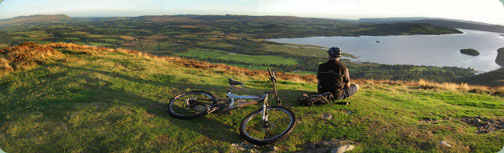 Mountain biking on Conic Hill above Loch Lomond on the West Highland Way
